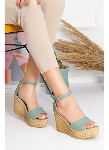Derithy Vınle Dolgu Topuklu Ayakkabı -Mınt Yeşılı-Lzt0590 Yeşil